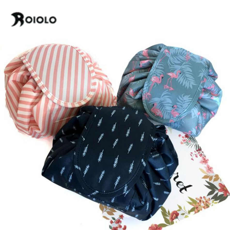 Women Cosmetic Bag Travel Flamingo Make Up Bag Portable Drawstring Bulk Storage Magic Makeup Bag Organizer Wash Toiletry Bags