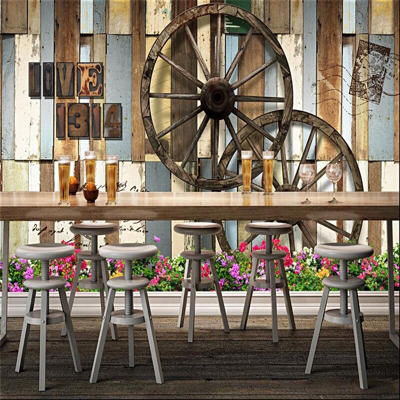 Beibehang Tapete Wandbild Wand Aufkleber Retro Holz Bord Rad Kultur Restaurant Bar Cafe Hintergrund Wand Papel De Parede Auswahlmaterialien