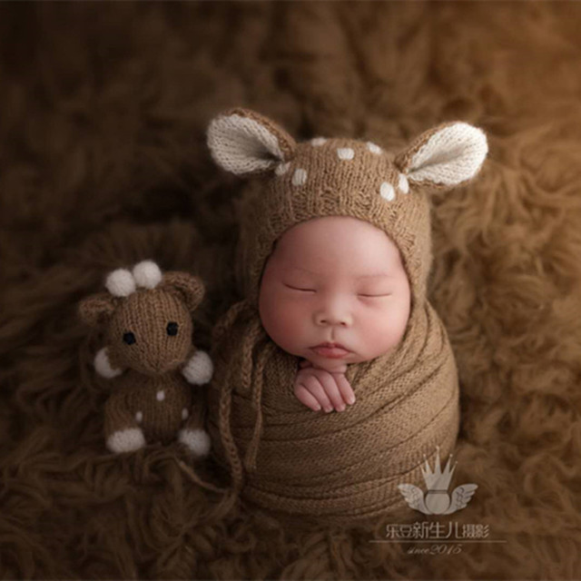 b395341061758 Vintage Animal Hat and Toy Set Knitted Baby Hat Doll Stuffed Toys Crochet  Reindeer hat Baby Girl Boy Fawn Bonnet Newborn Props