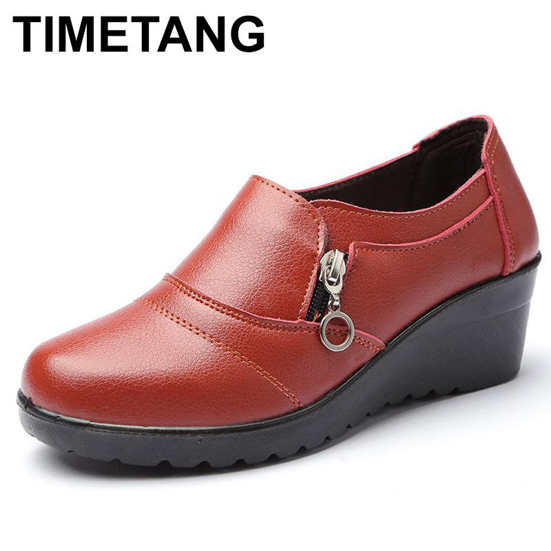 TIMETANG Autumn new fashion slip on women high heels shoes Women's Genuine Leather Work shoes Mother comfortable Wedding C290 aiyuqi big size 41 42 43 women s comfortable shoes 2018 new spring leather shoes dress professional work mother shoes women