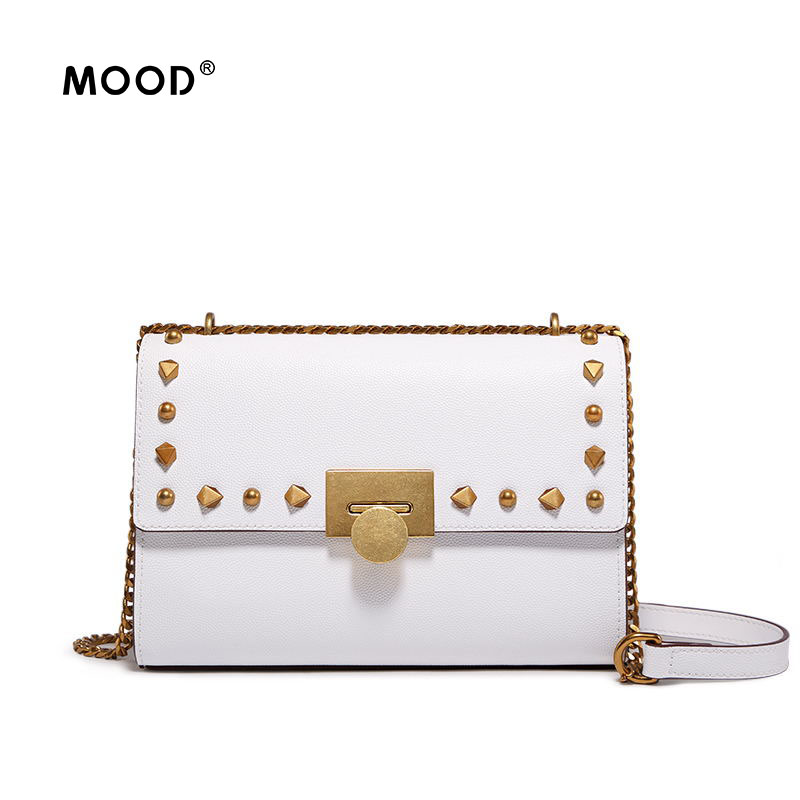 MOOD Women shoulder bag Glitter leather small square one shoulder chain in 2018, the new rivet inclined package Free shipping sailor moon the same type bag fashion small pure and fresh and candy color one shoulder inclined shoulder bag