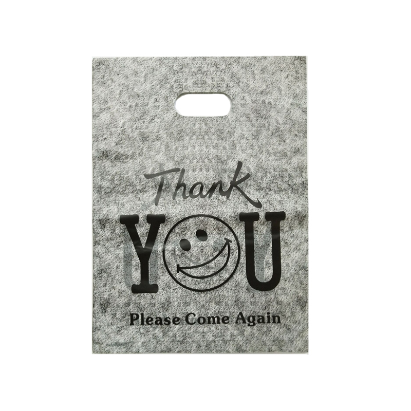 100pcs Black Round Face Print 25x35cm Large Plastic Shopping Bags For Clothes Gift Packaging,Nice With Handle