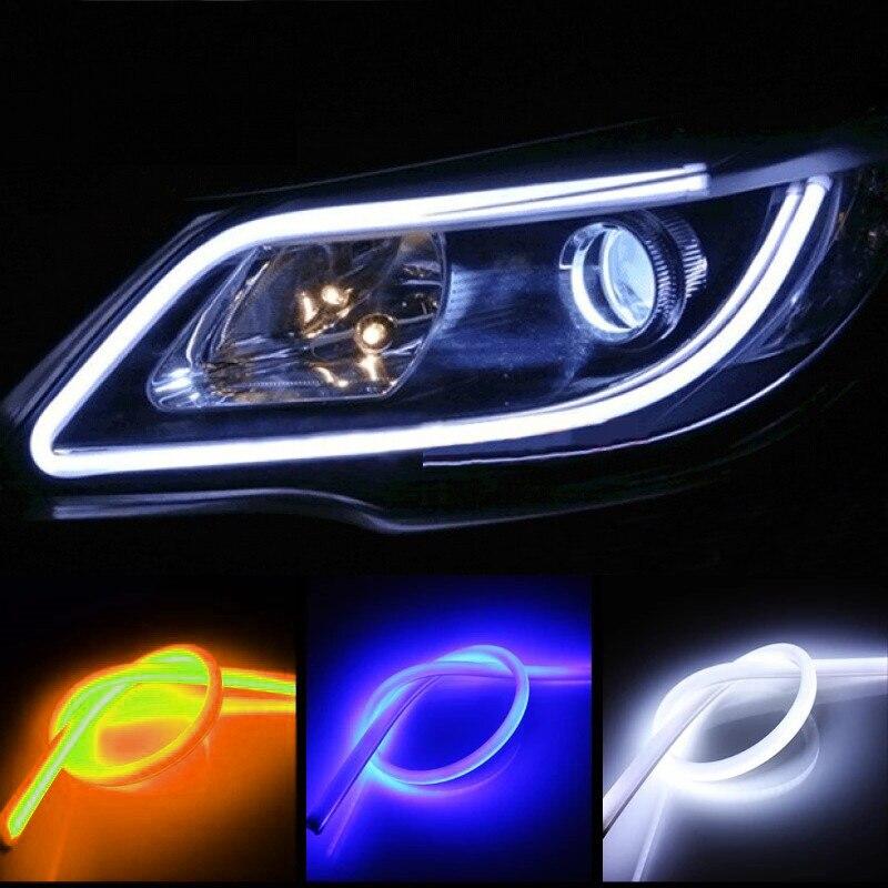 2Pcs DRL 30 60cm Daytime Running Light Strip Flexible Soft Tube Guide Car LED Strip White Red Turn signal Yellow цена