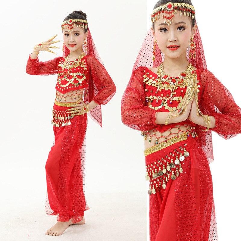 Girls Belly Dance Costumes Children Oriental Dance Clothing 2PCS/Set Kids Belly Dancing Bollywood Indian Performance Dancewear индийский костюм для танцев девочек