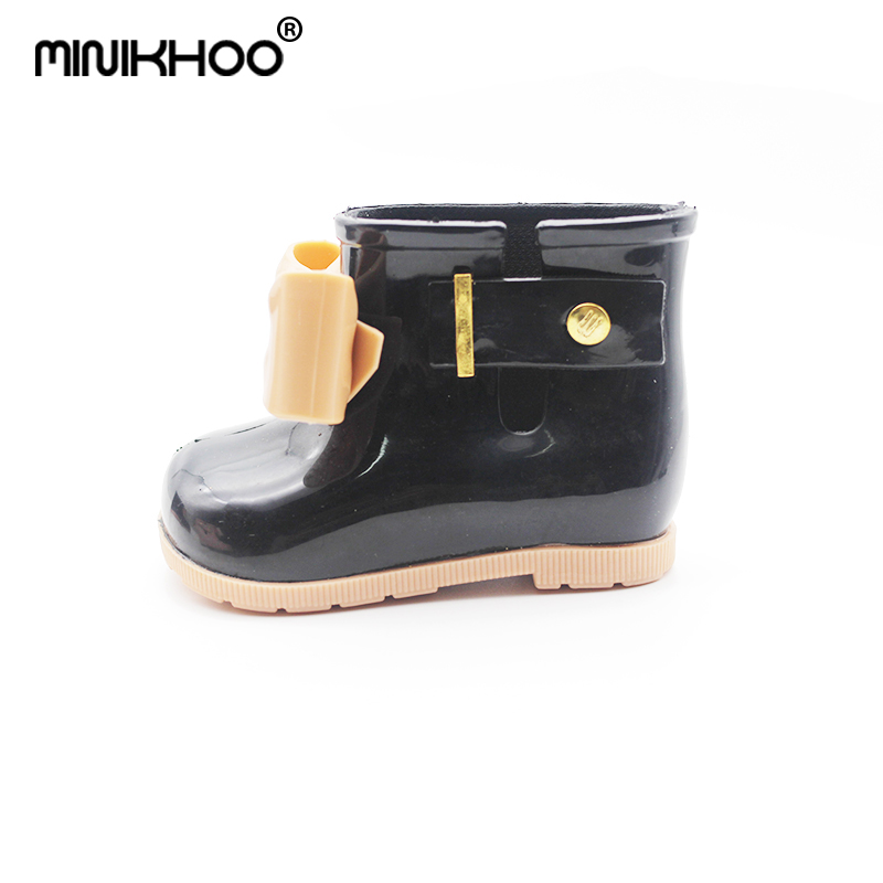 Mini Melissa Children Rainboots Butterfly Shoes Baby Jelly Shoes Unisex Rain Boots Girls Fashion Boot Non-slip Waterproof Boots