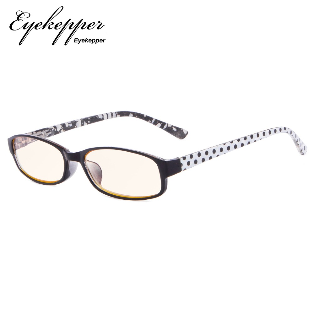 CG908P Eyekepper Polka Dots Patterned Temples Reading Glasses with UV Protection Amber Tinted Lens