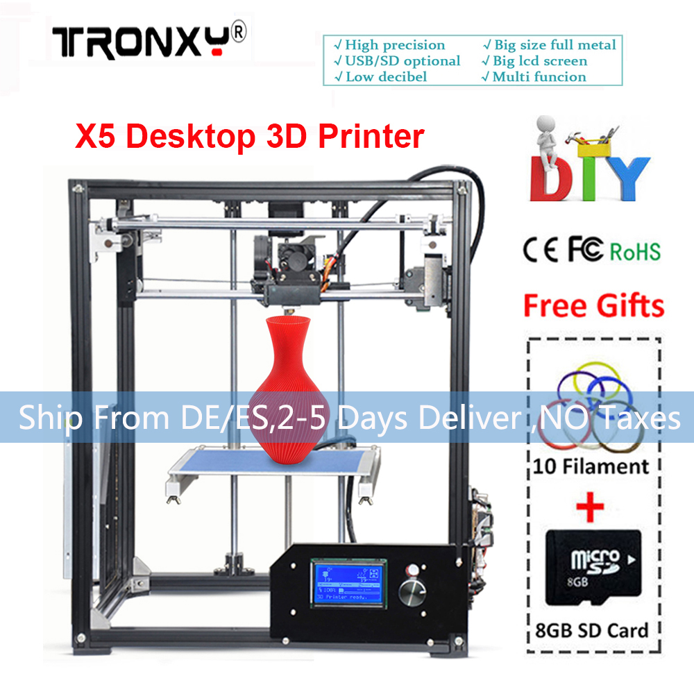 High Speed Tronxy 3d Printer DIY Large Printing Size 210*210*280mm Metal Frame 3d Printer Heated Bed extruder +Filament SD Card