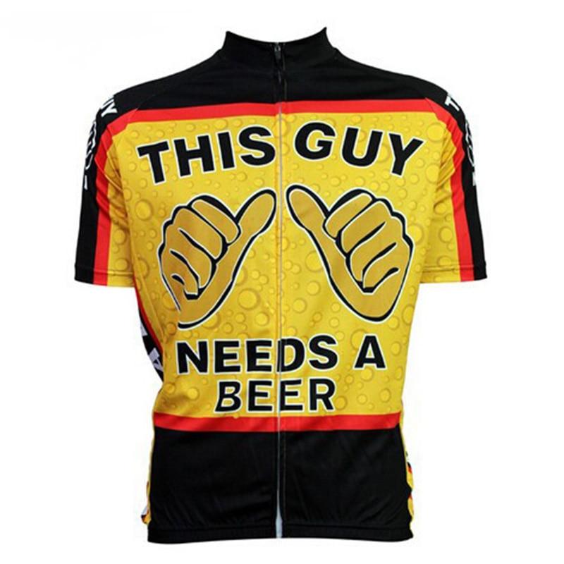 Prix pour CUSROO 2016 nouvelle nouveauté de bande dessinée ce type a besoin d'une bière hommes courtes vélo vélo maillots drôle tops vélo jersey clothing, personnalisé