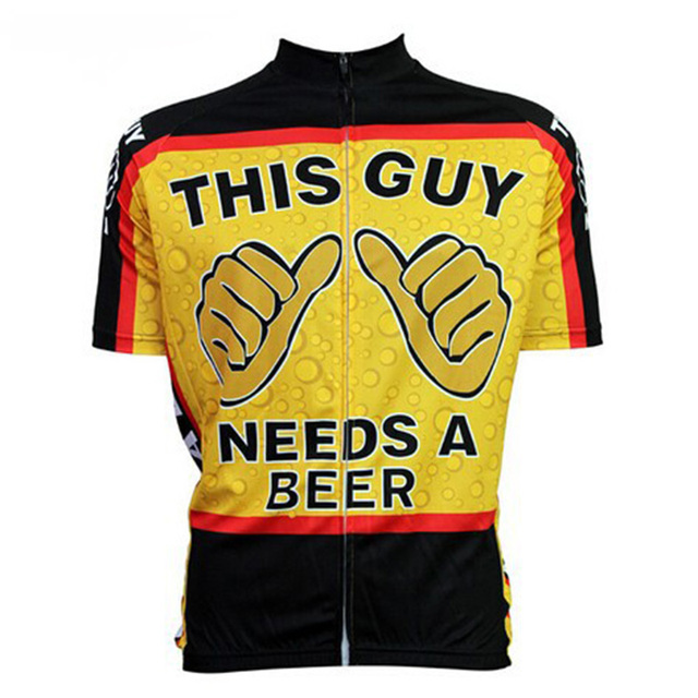 CUSROO 2019 new novelty cartoon this guy needs a beer men short bicycle  cycling jerseys funny tops bike jersey clothing 7c7d3ab6b