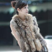 020101B knitted real rabbit fur vest winter coat racccoon fur collar and Placket sleeveless waistcoat women