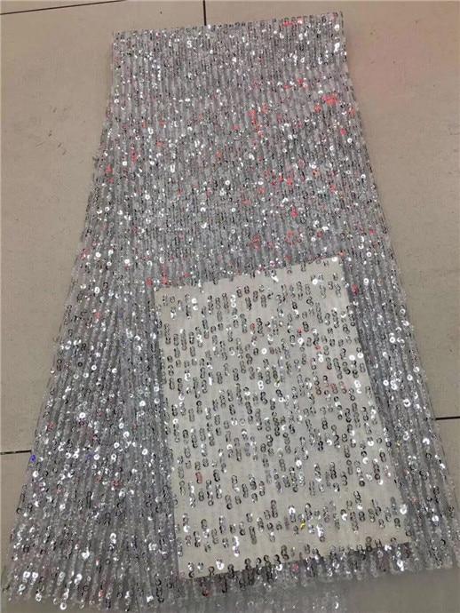 3d dentelle tissu pour robes de mariée 5 yard/lot 3d fleur tissu 2017 haute qualité africaine dentelle tissu blanc avec paillettes argent-in Dentelle from Maison & Animalerie    1