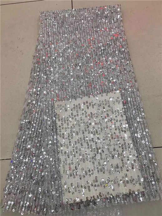 Tela de encaje 3d para vestidos de boda 5 yardas/lote tela de flores 3d 2017 tela de encaje africana de alta calidad blanca con lentejuelas plateadas