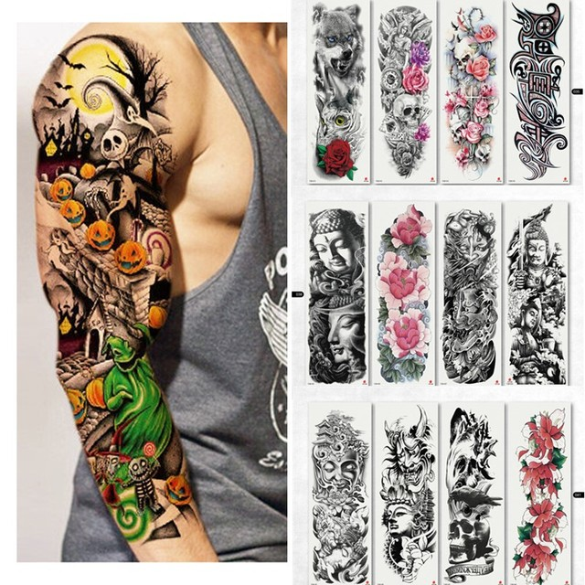 7328d17f3 4PCS Waterproof Temporary Tattoo Stickers Skull Angel Rose Lotus Pattern  Full Flower with Arm Body Art Big Large Fake Tattoo