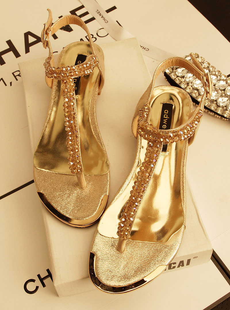 d36ae0a486bc8f 2013 metal rhinestone fashion women s flat sandals gold black colors lady  flats sandals wedges sandals wedding shoes free ship