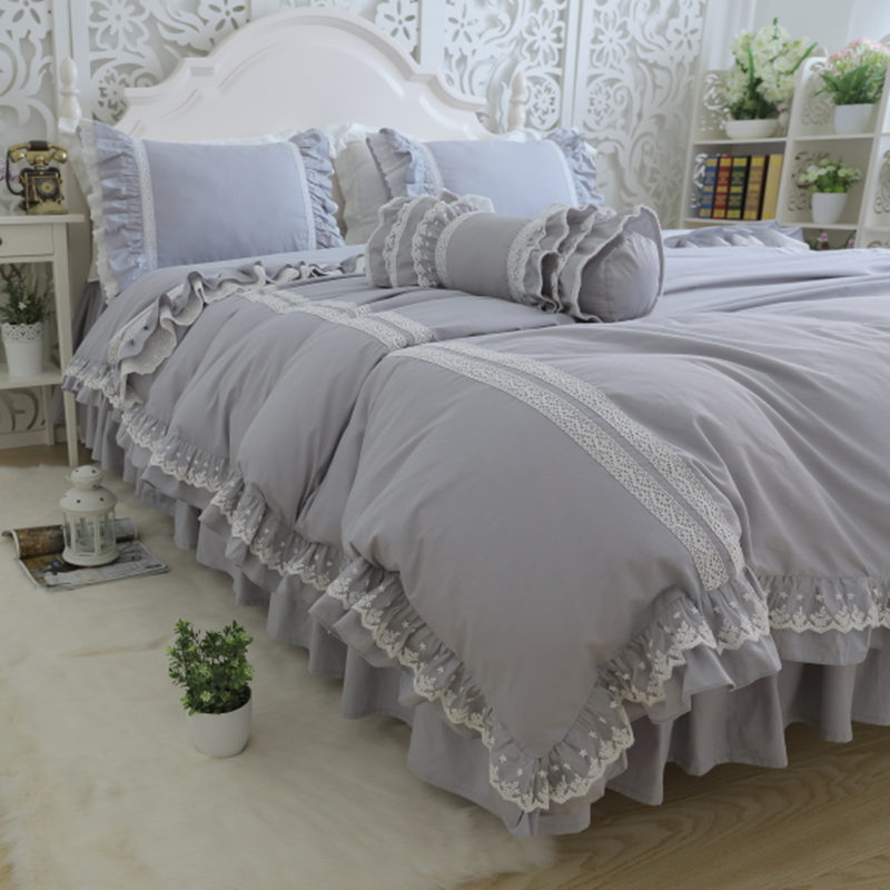 Top luxury bedding set light grey embroidery ruffle lace duvet cover bed sheet bedspread princess bed