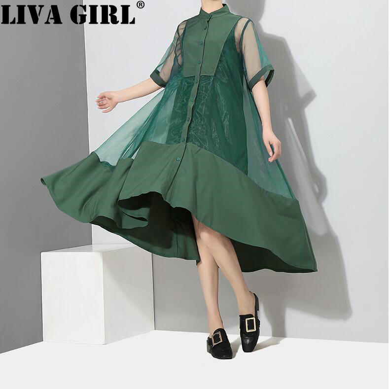 LIVA GIRL New Summer Stand Collar Short Sleeve Green Organza Split Joint Loose Irregular Hem Dress Women Fashion Tide