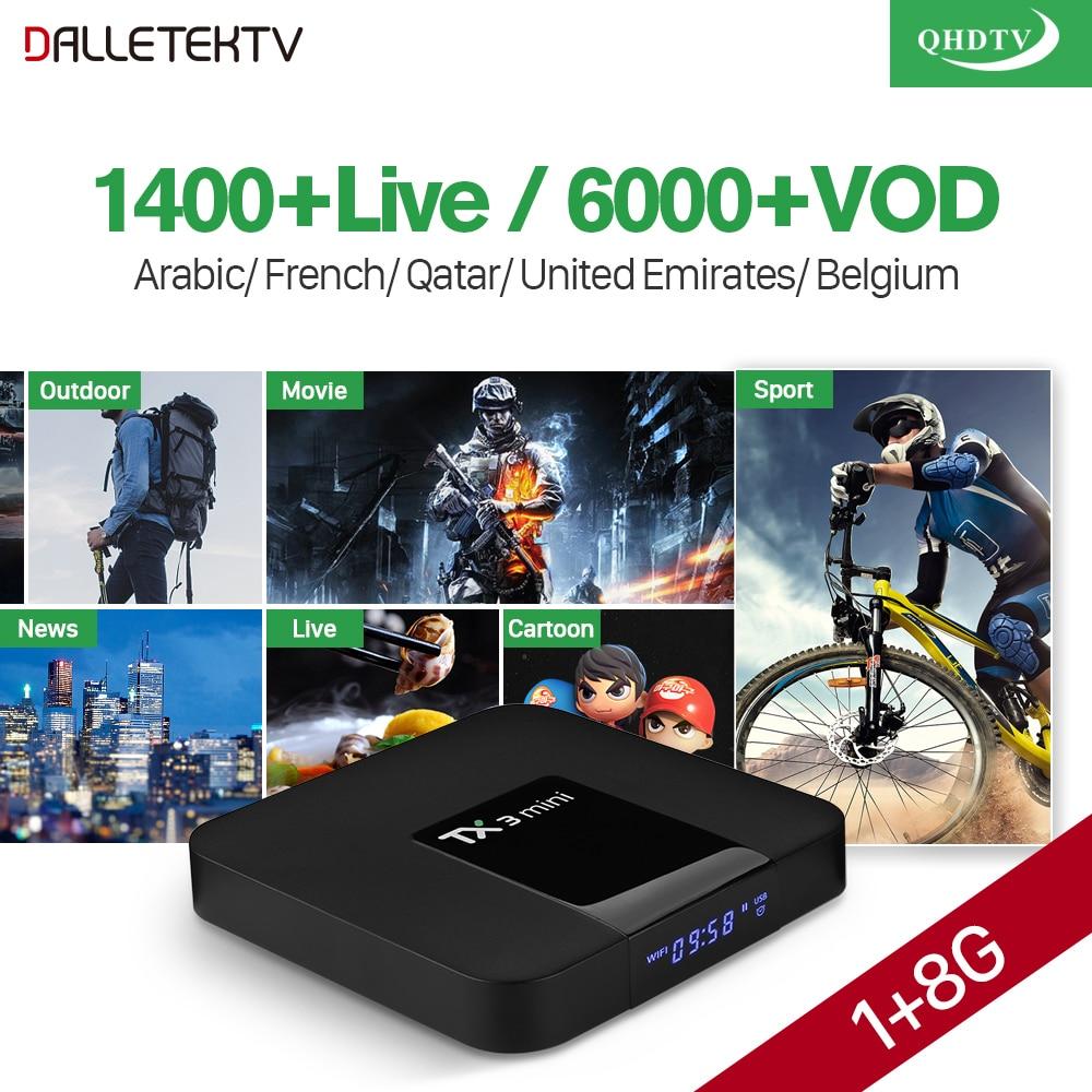 IPTV Arabo TX3 Mini TV Box Android 7.1 S905W 1 Anno di Abbonamento di QHDTV Canali IPTV Belgio Francia IP TV Box ricevitore TV