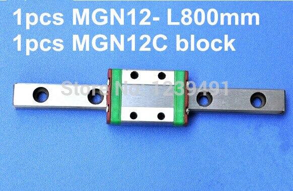 1pcs MGN12 L800mm linear rail + MGN12C carriage