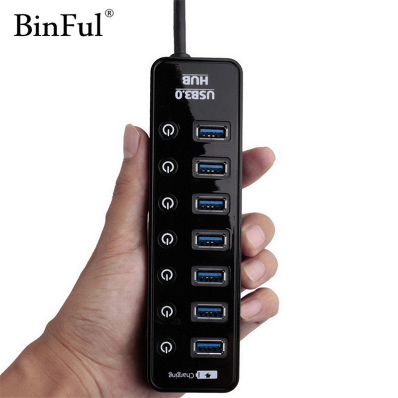 BinFul Mini USB HUB 3.0 Super Speed 5Gbps 7 Ports + 1 Charging Portable Micro USB 3.0 HUB Splitter With Cable For PC Accessories orico m3h73p aluminum usb hub splitter super speed 5gbps 7 usb3 0 ports 3 usb charging ports for charging