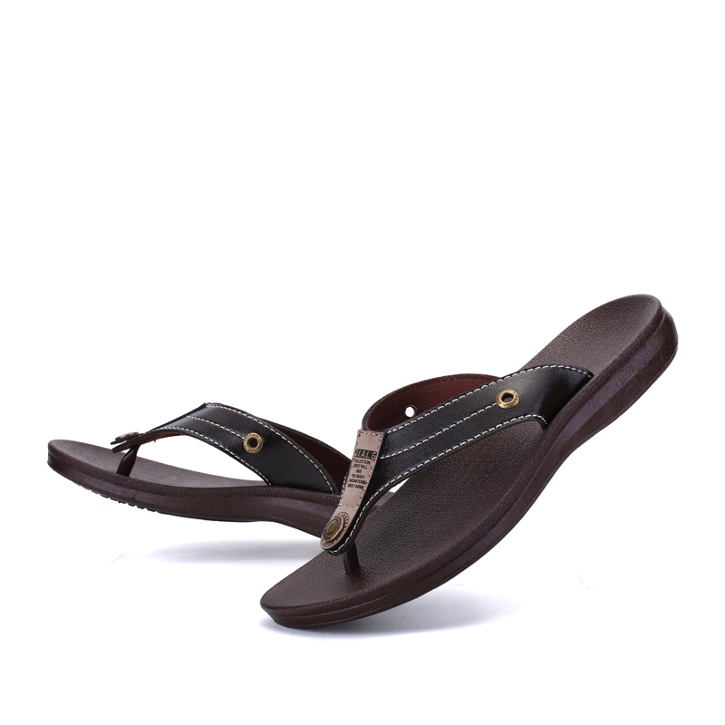 New Arrival Summer Cool Men 39 s Leather Flip Flops Increased British Style Boardered Beach Sandals Male Slippers Zapatos Hombre in Men 39 s Sandals from Shoes