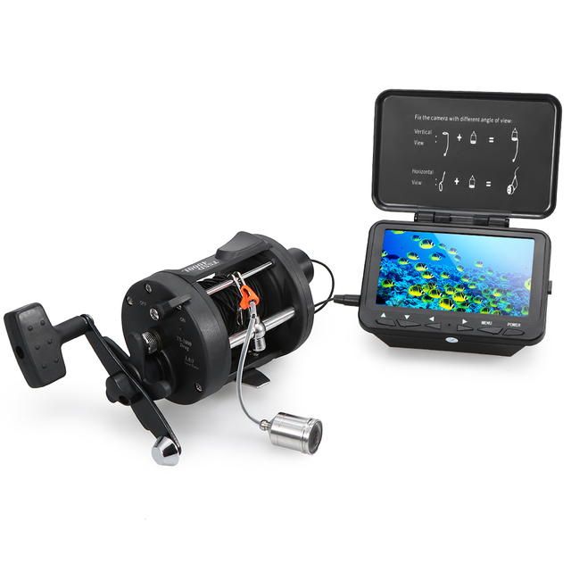"""1000TVL Fish Finder Underwater Ice Fishing Camera with Trolling Reel 4.3"""" LCD Monitor 8 Infrared IR LEDs Night Vision Camera"""