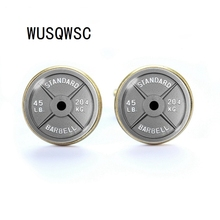 WUSQWSC Barbell Cufflinks Fitness Cufflinks Dumbbell Cufflinks Weightlifter Gifts Sportsman Gifts Fitness Clothes Men's Fitness цена