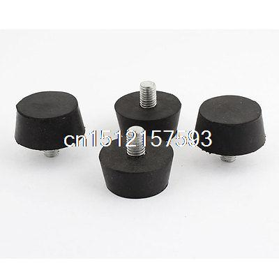 4 Pcs Rubber Screw On Type M10 40mm Head Diameter Handle Knob Black 40mm x 8mm thread screw on type five pointed star knob handle 2pcs