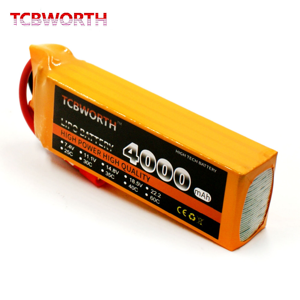 TCBWORTH 4S 14.8V 4000mAh 40C RC LiPo battery For RC Airplane Helicopter Quadrotor Car boat Drone Truck Li-ion battery tcbworth rc lipo airplane battery 2s 7 4v 4000mah 30c for rc helicopter quadrotor drone car boat truck li ion batteria