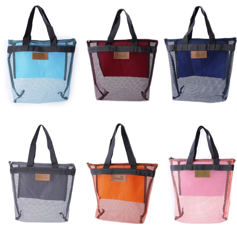 THINKTHENDO 6 Color Oxford Travel Mesh Make-up Bag Beach Storage Shoulder Handbag Organizer Breathable Bags Casual