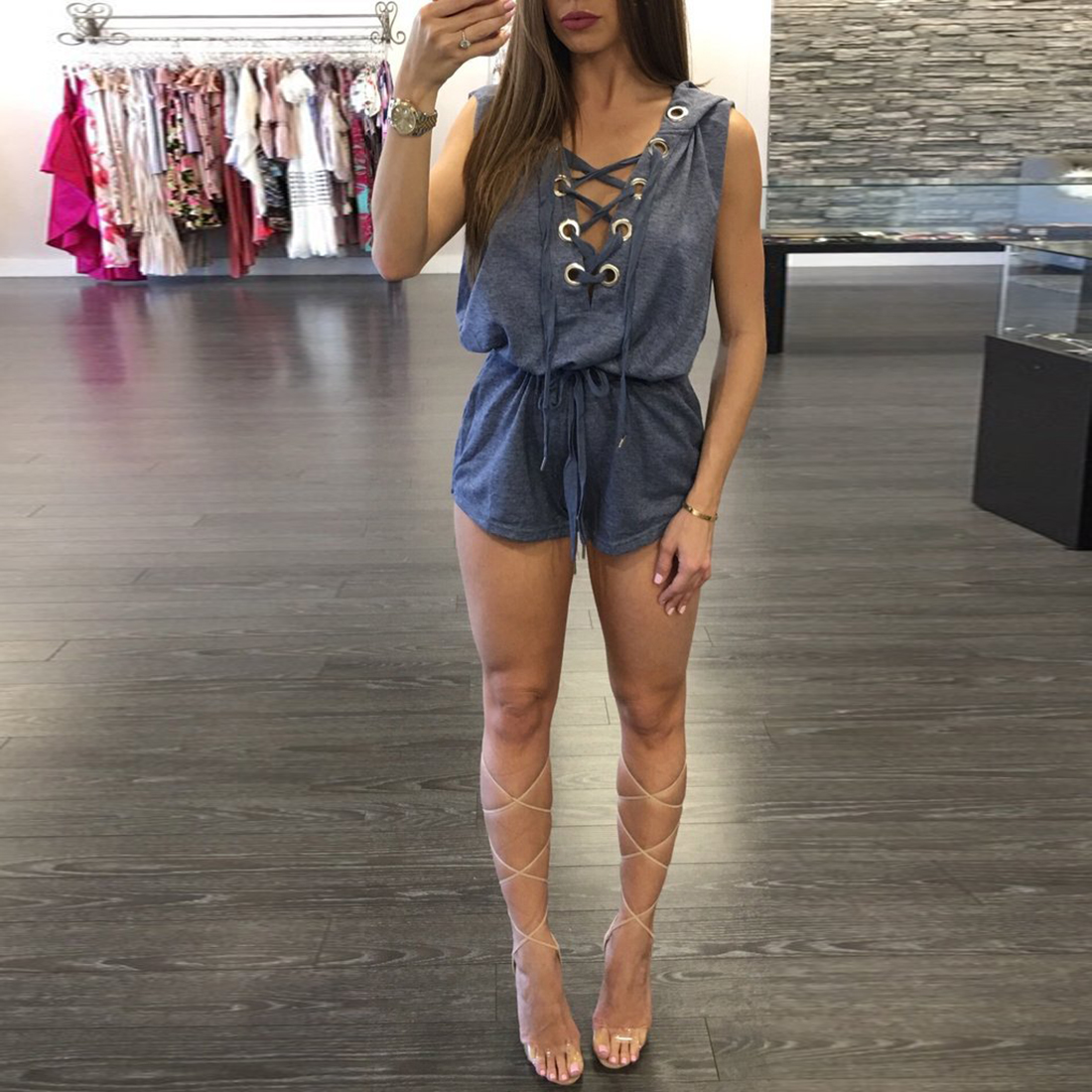 YJSFG HOUSE Women Sleeveless Overalls Hooded Playsuits Sexy 2017 Sexy Women Short Jumpsuit One Piece Lace Up Rompers Bodysuit