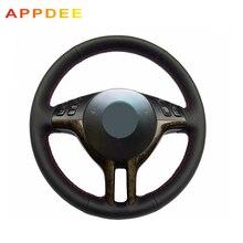Appdee Negro de Cuero cosido A Mano Cubierta Del Volante Del Coche para BMW E39 X5 E53 E46 325i