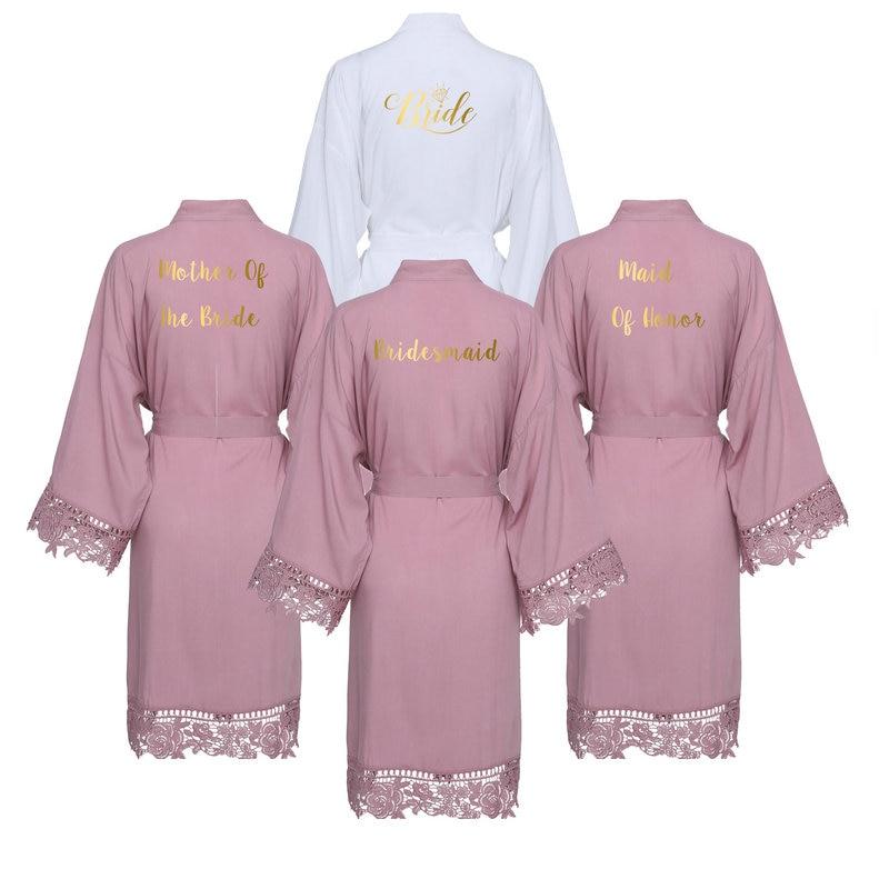 YUXINBRIDAL  2019 New Mauve Solid Cotton Kimono Robes With Lace Trim Women Wedding Bridal Robe Bathrobe Sleepwear White