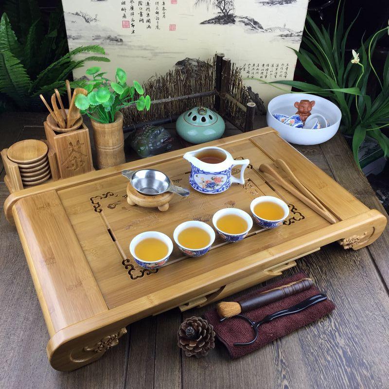 Bambou plateau à thé D'eau de Drainage Kung Fu Cravate Guan Yin table à thé Ensemble thé de chine Tasse Cemony Treools Tamboo Plateau de service Teaware