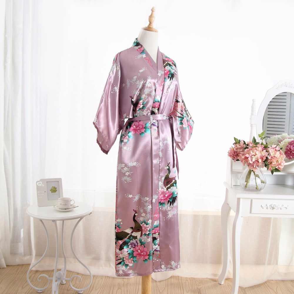 Женский шелковый атлас длинный для свадьбы, невесты, подружки невесты халат цветочное кимоно халат Feminino банный халат большой размер Peignoir Femme сексуальный халат