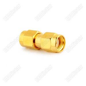 2 peças RP-SMA macho para rp sma macho plug jack pino em linha reta coaxial adaptador conector banhado a ouro 50 ohm in-series