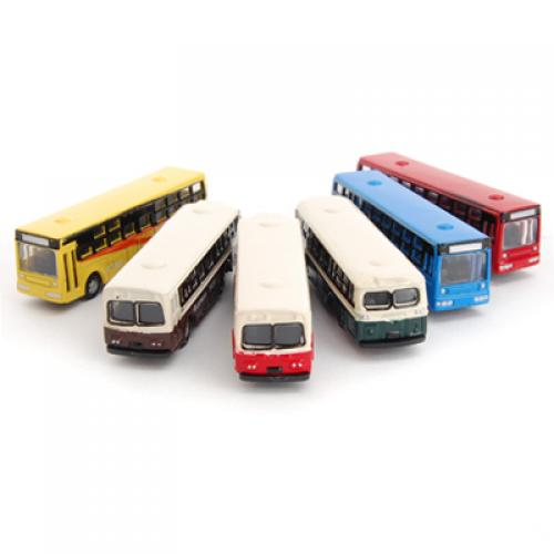 MagiDeal 6Pcs/Lot Diecast Model Bus Train Layout Railway Street Scenery Scene For School Children Classic Toys Hobbies Gifts