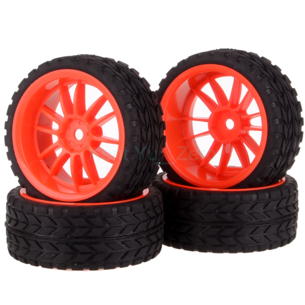 4PCS 12MM Hub HPI Redcat HSP Plastic Wheel Rim & Grip Rubber Tyre,Tires,For RC 1:10 Car On Road,9046-6017 universal replacement tire w wheel rim hub for 1 10 on road model cars black brown 4pcs