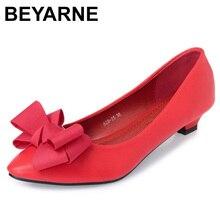 BEYARNE 새로운 패션 오피스 레이디 로우 힐 작업 신발 여성 펌프 여성 가을 봄 작업 신발 pointedtoe bowtie35 41yellowE495
