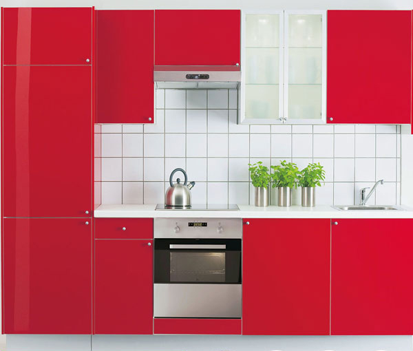 bright red kitchen cabinet-in kitchen cabinets from home