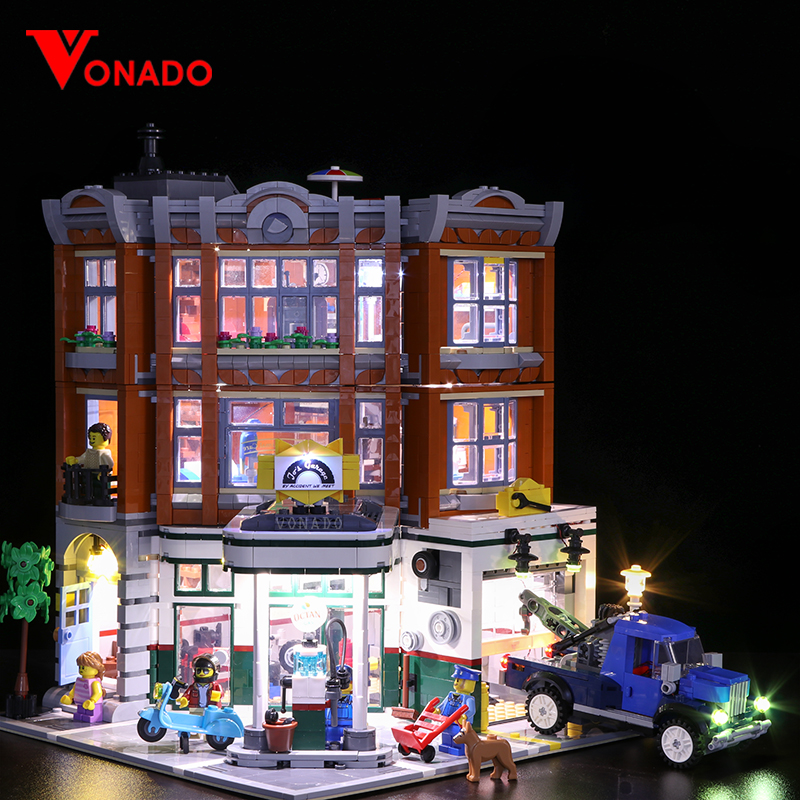 Luz conduzida para LEGO2019 rua nova série 10264 esquina da rua da estação de reparo do carro blocos de construção de brinquedos montados (Apenas luzes)