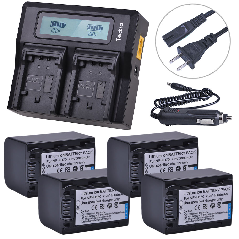 4Pcs 3000mAh NP-FH70 NP FH70 NPFH70 Camera Battery +LCD Rapid Charger for Sony NP-FH30 Cyber-shot DSC-HX1 Alpha DSLR-A230 Series фотоаппарат sony cyber shot dsc rx10m2