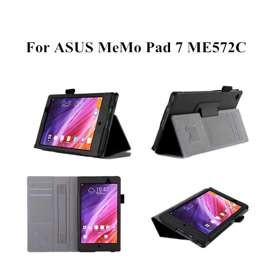 ME572C Leather Case For ASUS MeMO Pad 7 ME572C ME572CL Leather Cover Case With Hand holder and card slot +screen protectors