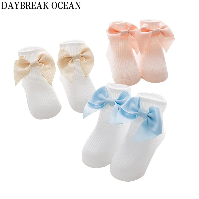 Newborns Baby Cute Big Bowknot Baby Foor Socks 0-3 Year Soft Cotton Warm Socks For Toddler Autumn Kids Infant Boys Girls Socks