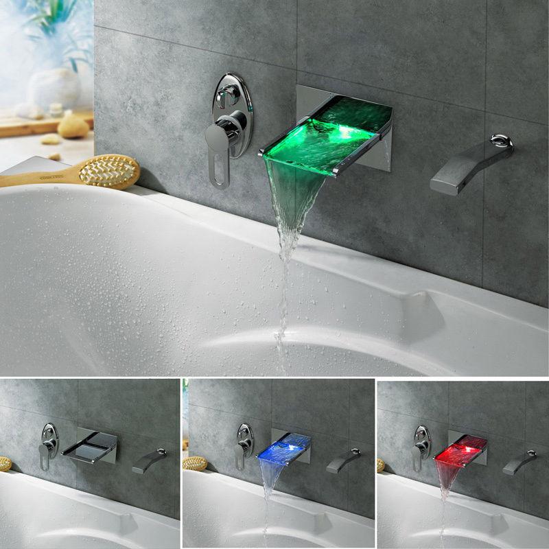 Free shipping Bathroom Bathtub LED Waterfall <font><b>Roman</b></font> <font><b>Tub</b></font> Filler Faucet with Handshower Chrome
