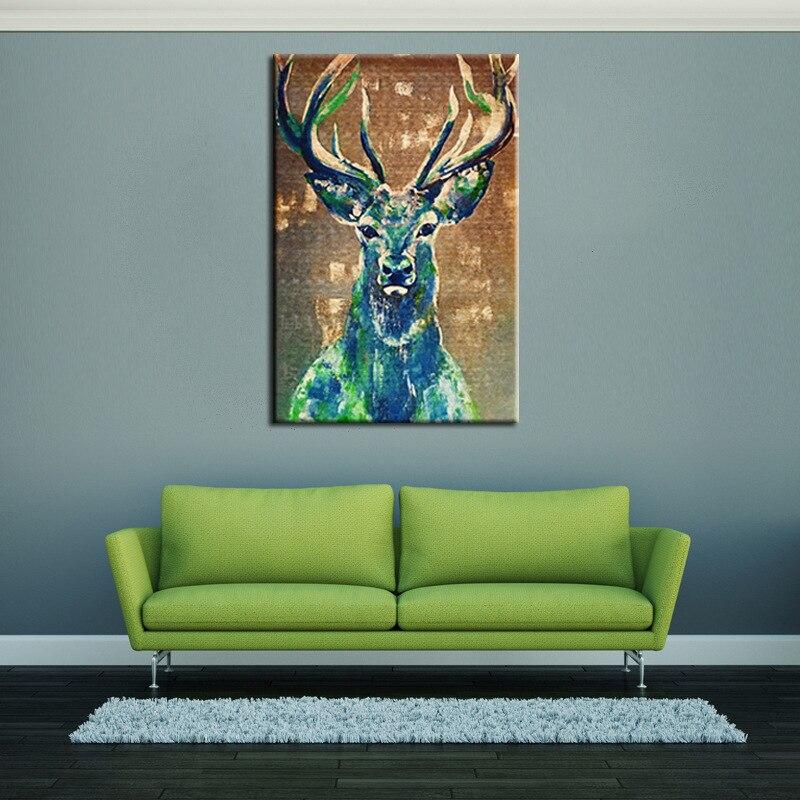 Sin marco Moderno Pintura Al Óleo Impresa Navidad Alces Imagen ...
