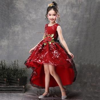 Vestido De Fiesta De Encaje Hueco Para Niñas De Navidad