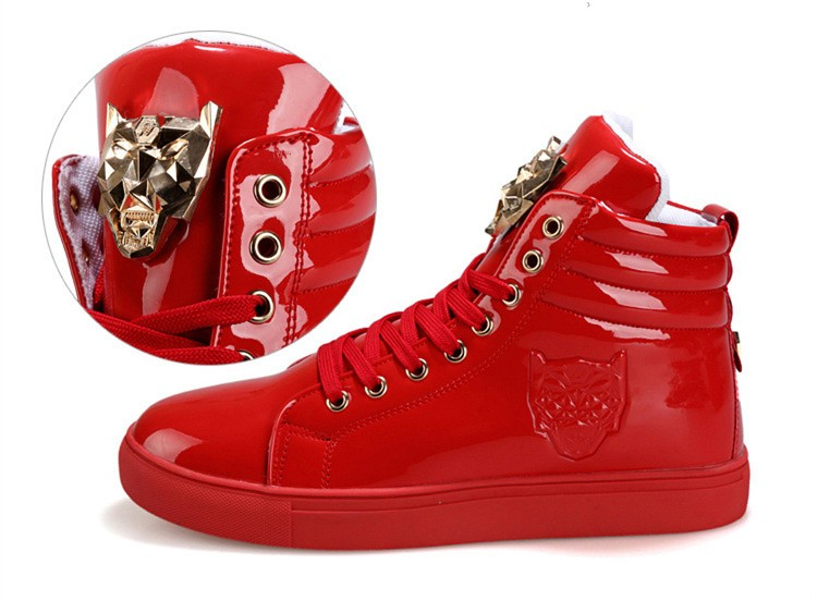 Fashion Leopard Sequined Skate Shoes For Men Ankle Boots 2015 New PU Patent Leather Shoe High Top Casual Flats Medusa Shoes F184 (5)