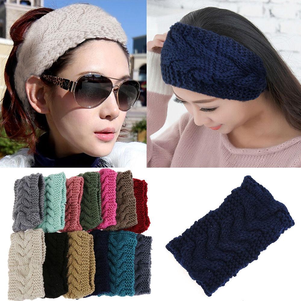 High Quality New Women Beauty Fashion Flower Crochet Knit Knitted Headwrap Headband Ear Warmer Hair Muffs Band Winter 20 Colors