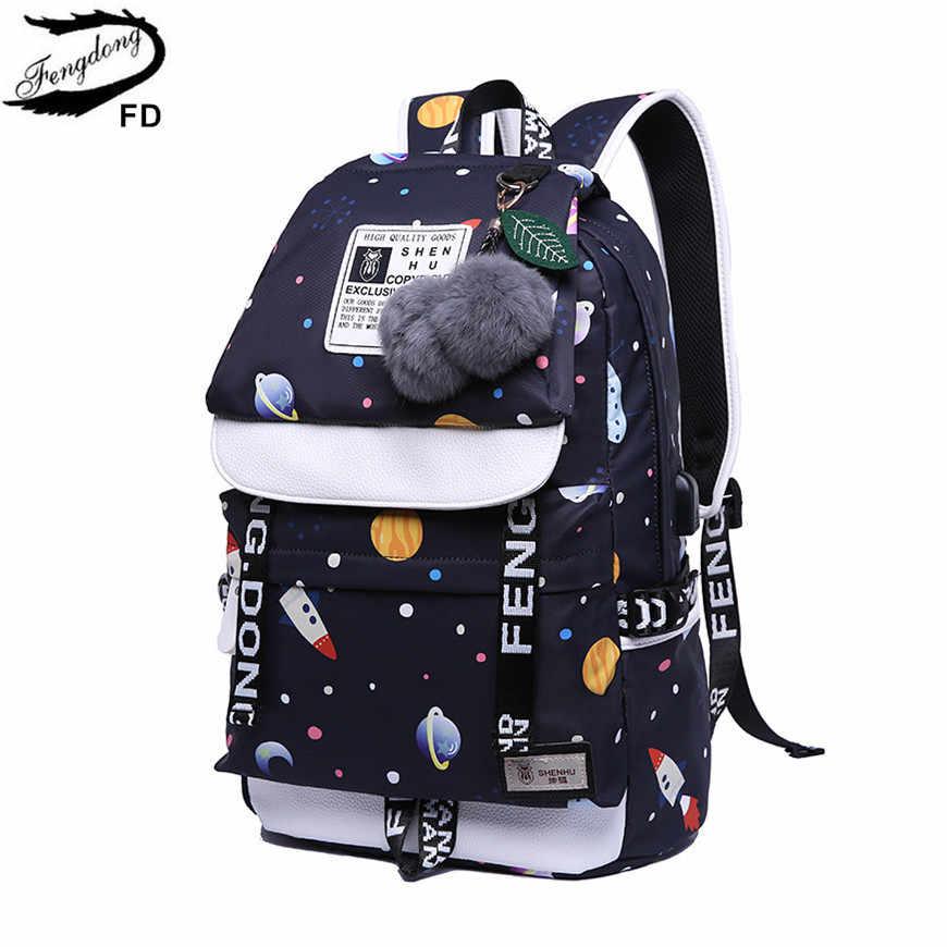 eb459f08c635 FengDong girls school backpack fashion girl schoolbag female korean style  black travel laptop backpack cute plush