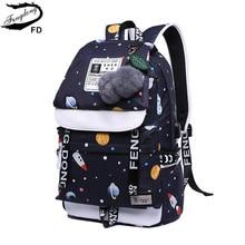 FengDong girls school backpack fashion girl schoolbag female korean style black travel laptop backpack cute plush